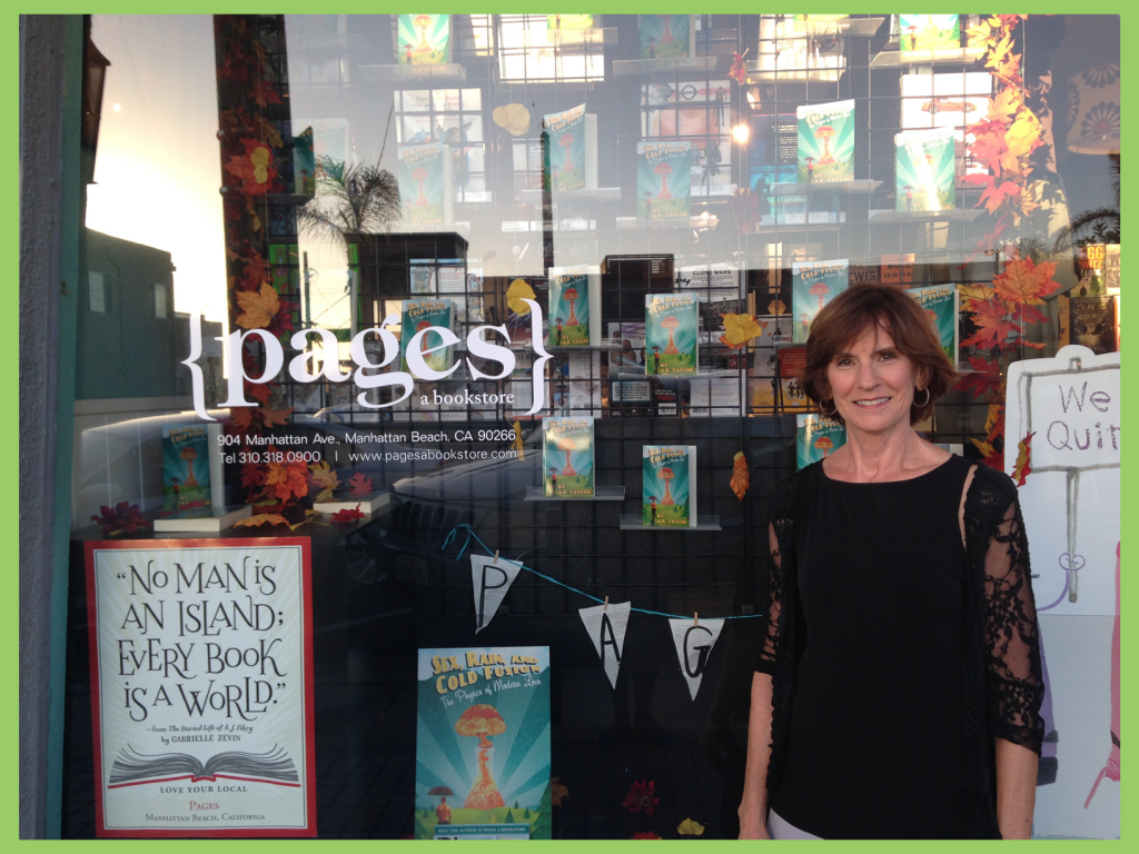 A.R. Taylor standing in the front of Pages, a bookstore in Manhattan Beach, California.